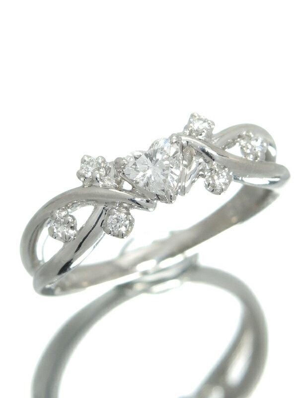 【星の砂】【仕上済】ホシノスナ『PT900リング ダイヤモンド0.28ct ハートモチーフ』11号 1週間保証【中古】