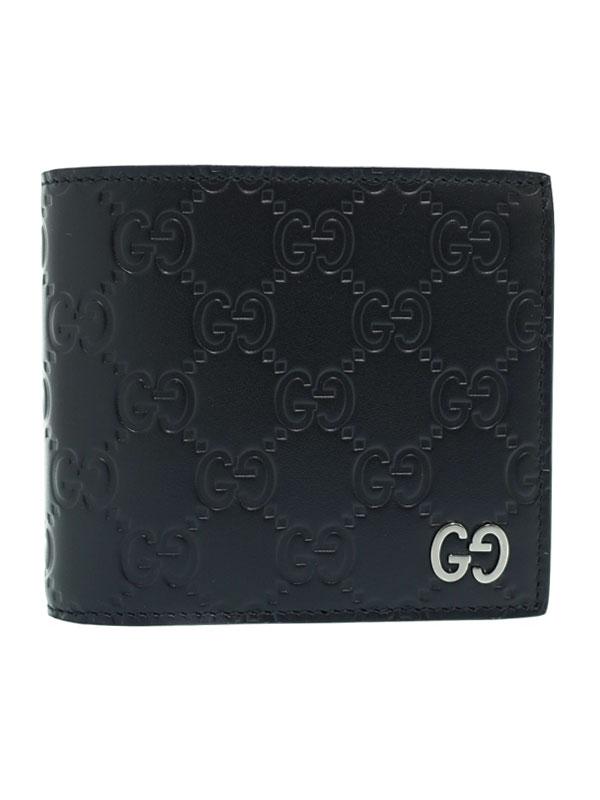 【GUCCI】グッチ『グッチシグネチャー レザー コインウォレット』473922 メンズ 二つ折り短財布 1週間保証【中古】