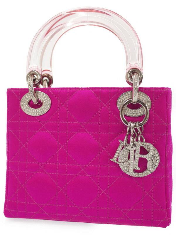 【Christian Dior】【カナージュ】クリスチャンディオール『ビジュー付 レディディオール (S)』レディース ハンドバッグ 1週間保証【中古】