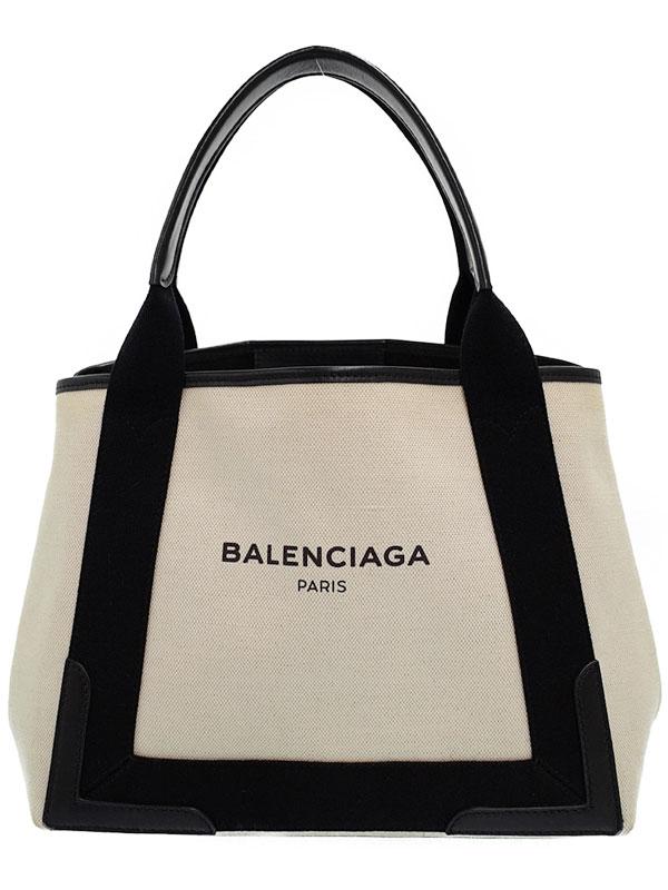 【BALENCIAGA】【ポーチ付】バレンシアガ『ネイビーカバス スモールトート』339933 レディース ハンドバッグ 1週間保証【中古】