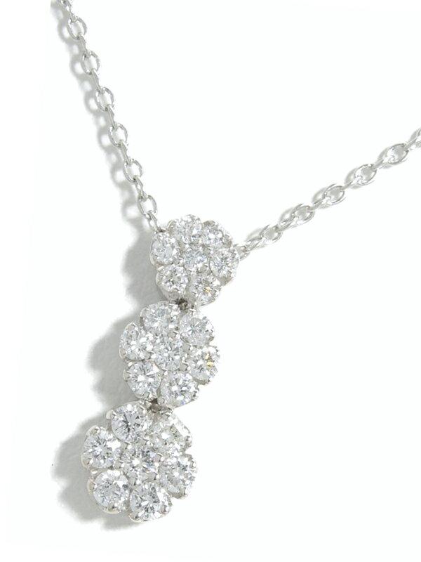 【Ponte Vecchio】【仕上済】ポンテヴェキオ『K18WGネックレス ダイヤモンド0.43ct フラワーモチーフ』1週間保証【中古】
