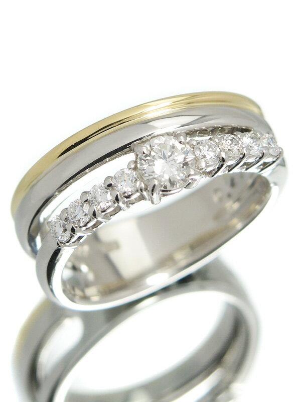 【星の砂】【仕上済】ホシノスナ『PT900/K18YGリング ダイヤモンド0.49ct』13号 1週間保証【中古】