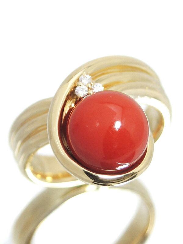【POLA】【仕上済】ポーラ『K18YGリング サンゴ9.3mm ダイヤモンド0.03ct』13号 1週間保証【中古】