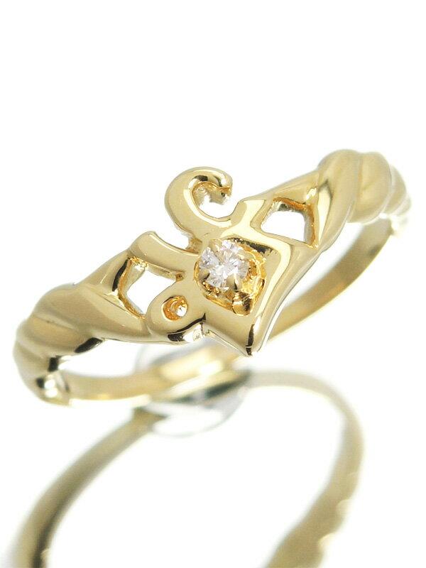 【MIKIMOTO】【仕上済】ミキモト『K18YGリング ダイヤモンド』10.5号 1週間保証【中古】