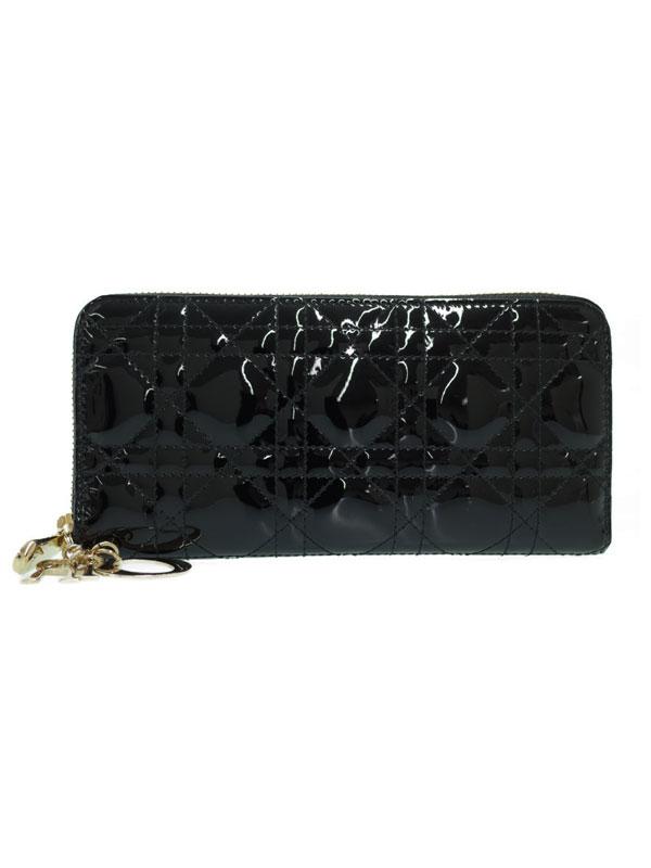 【Christian Dior】【カナージュ】クリスチャンディオール『レディディオール ラウンドファスナー長財布』レディース 1週間保証【中古】