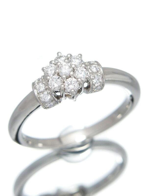 【星の砂】ホシノスナ『PT900リング ダイヤモンド0.31ct フラワーモチーフ』12号 1週間保証【中古】