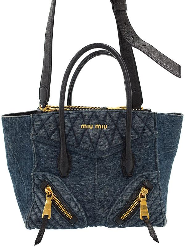 【MIU MIU】ミュウミュウ『デニム 2WAYハンドバッグ』レディース 2WAYバッグ 1週間保証【中古】