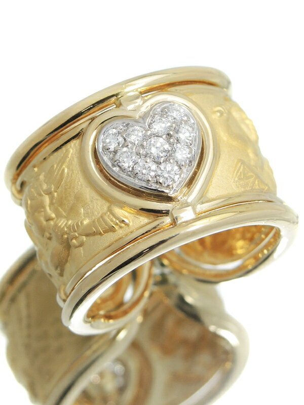 【Carrera y Carrera】【仕上済】カレライカレラ『K18YG/K18WGリング ダイヤモンド 天使とハートモチーフ』11号 1週間保証【中古】