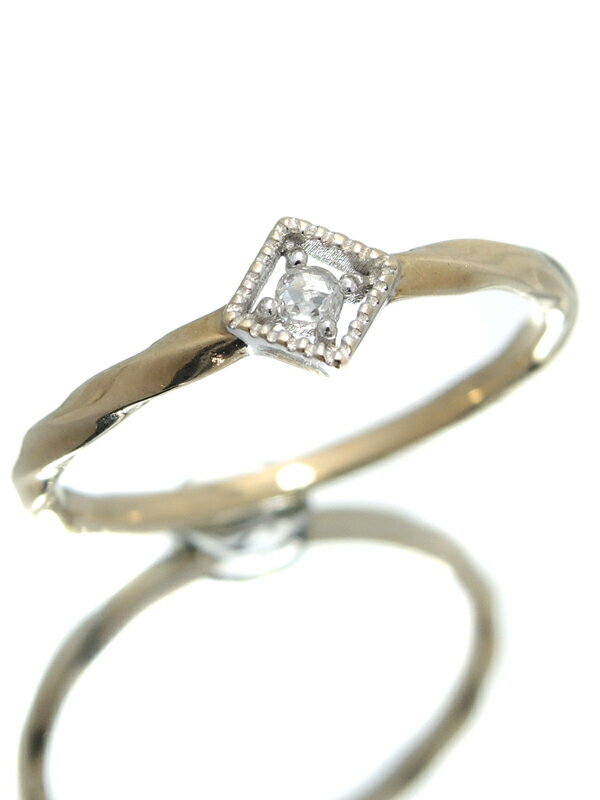 【ete】【ツイストデザイン】エテ『K10YG/K10WGリング ダイヤモンド0.02ct』11号 1週間保証【中古】jps】