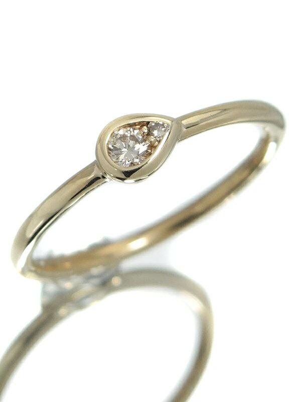 【しずく型】セレクトジュエリー『K10YGリング ダイヤモンド0.07ct ドロップモチーフ』10号 1週間保証【中古】jps】