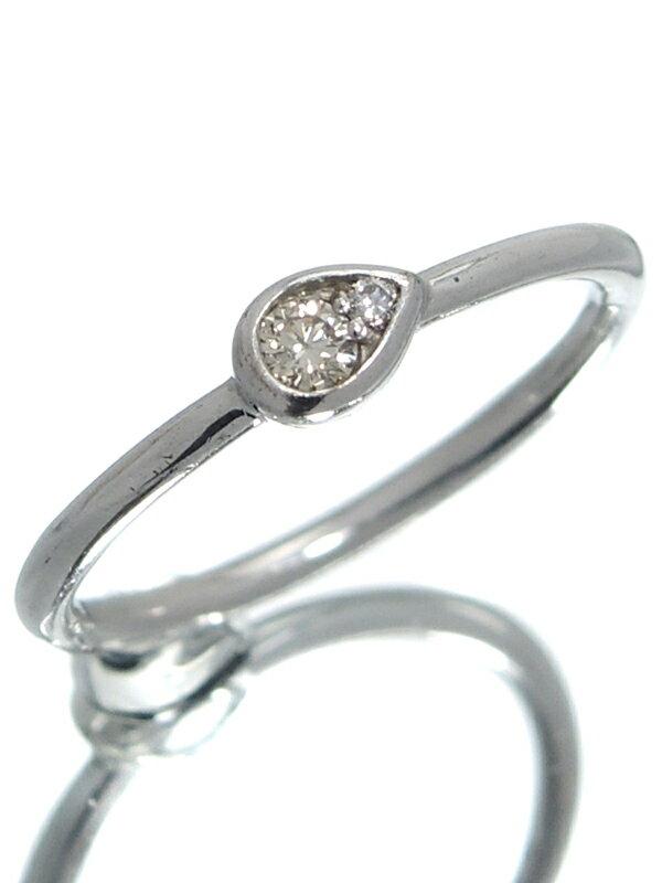 【しずく型】セレクトジュエリー『K10WGリング ダイヤモンド0.07ct ドロップモチーフ』10号 1週間保証【中古】jps】