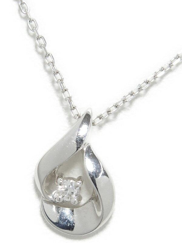 【しずく型】セレクトジュエリー『K10WGネックレス ダイヤモンド0.03ct ドロップモチーフ』1週間保証【中古】jps】