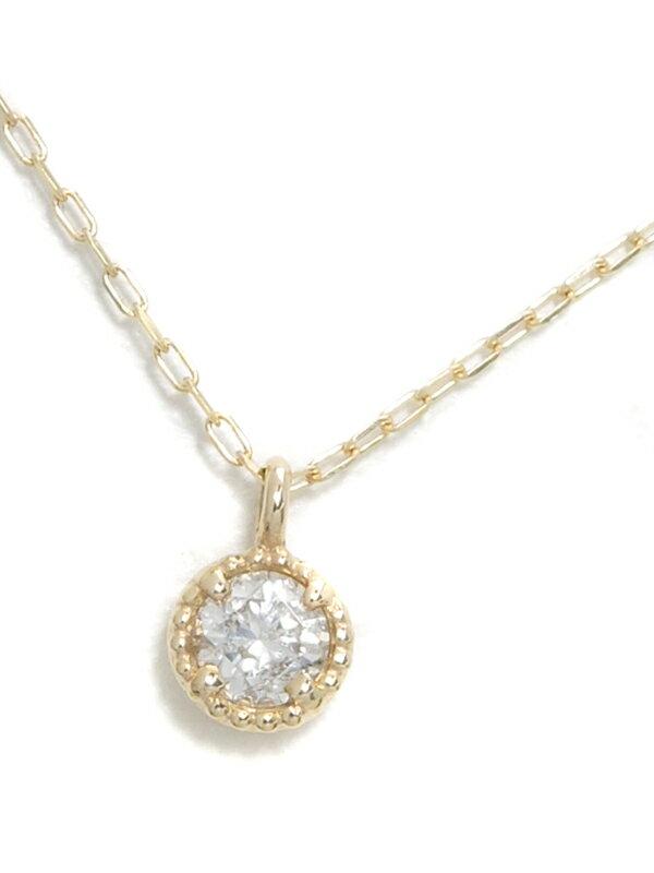 セレクトジュエリー『K10YGネックレス 1Pダイヤモンド0.1ct』1週間保証【中古】jps】
