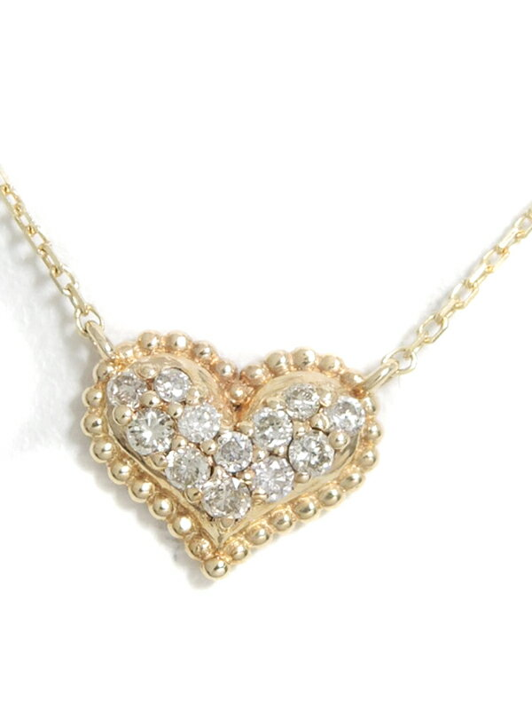 セレクトジュエリー『K10YGネックレス ダイヤモンド0.07ct ハートモチーフ』1週間保証【中古】jps】