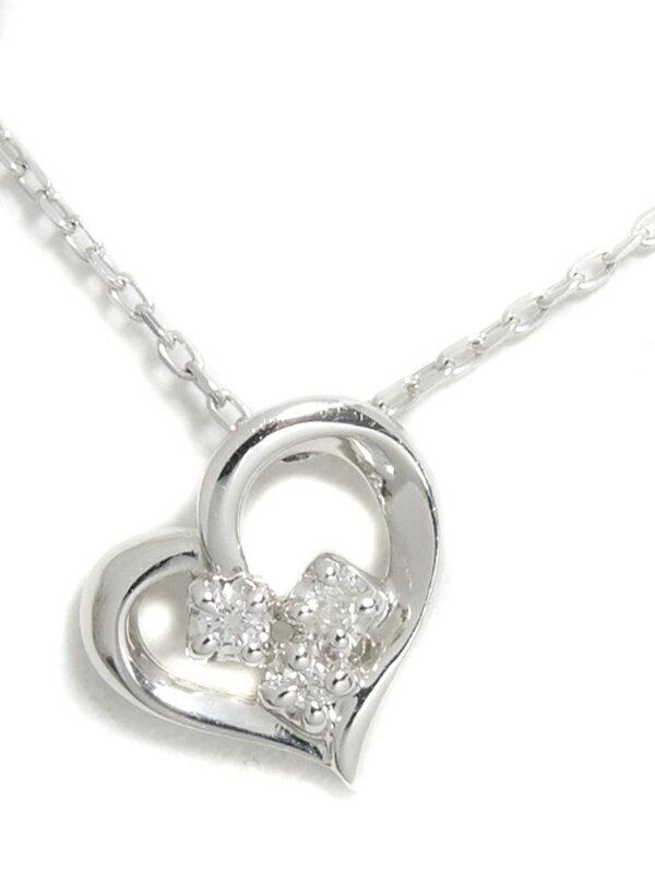 【Canal 4℃】ヨンドシー『K10WGネックレス ダイヤモンド ハートモチーフ』1週間保証【中古】jps】