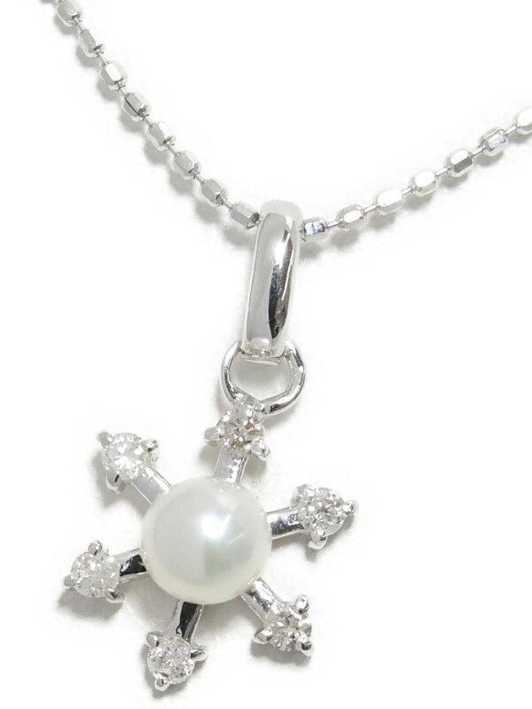 【スノーフレーク】セレクトジュエリー『K14WGネックレス パール ダイヤモンド0.09ct 雪の結晶モチーフ』1週間保証【中古】