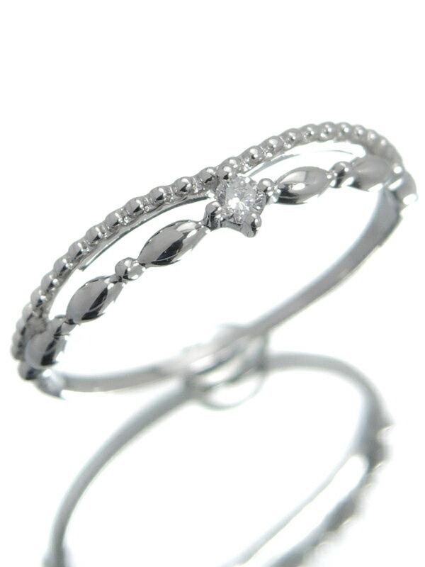 【2連風】セレクトジュエリー『K18WGリング 1Pダイヤモンド』13号 1週間保証【中古】jps】