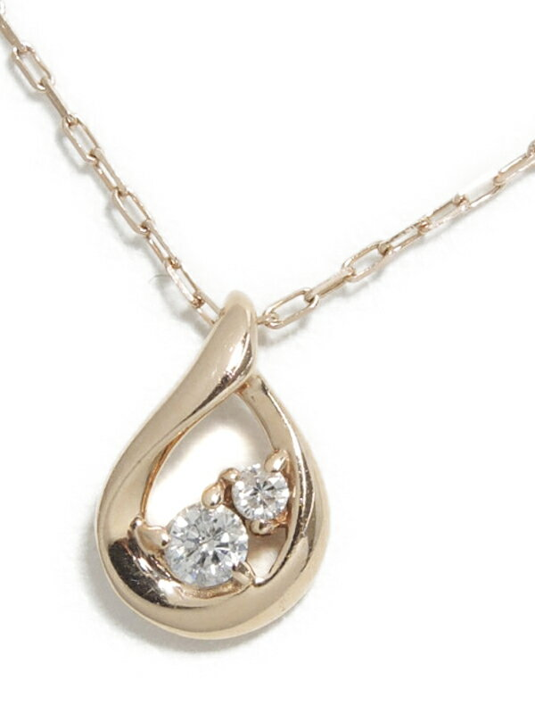 【4℃】【しずく型】ヨンドシー『K10PGネックレス ダイヤモンド ドロップモチーフ』1週間保証【中古】jps】