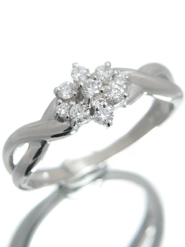【TASAKI】【仕上済】タサキ『PT900リング ダイヤモンド0.17ct フラワーモチーフ』11号 1週間保証【中古】