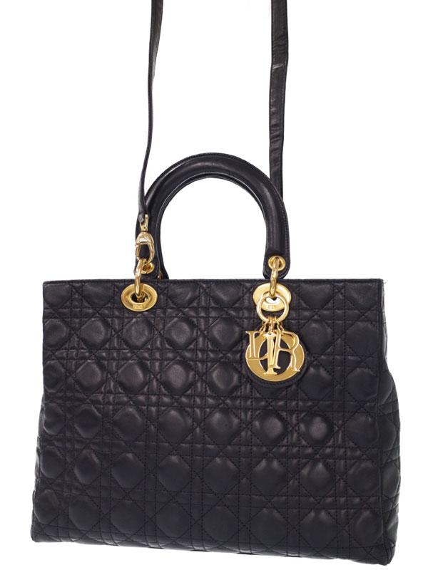 【Christian Dior】【カナージュ】クリスチャンディオール『レディディオール(L)』レディース 2WAYバッグ 1週間保証【中古】