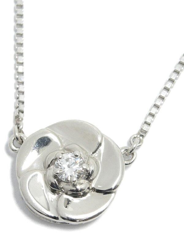 セレクトジュエリー『PT850ネックレス ダイヤモンド0.13ct フラワーモチーフ』1週間保証【中古】