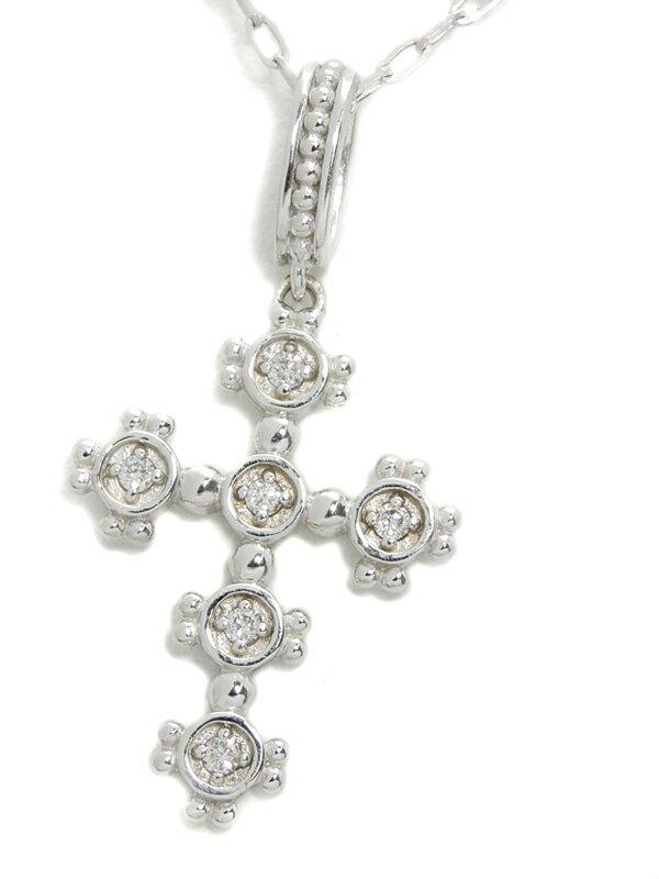 セレクトジュエリー『K18WGネックレス ダイヤモンド0.06ct クロスモチーフ』1週間保証【中古】