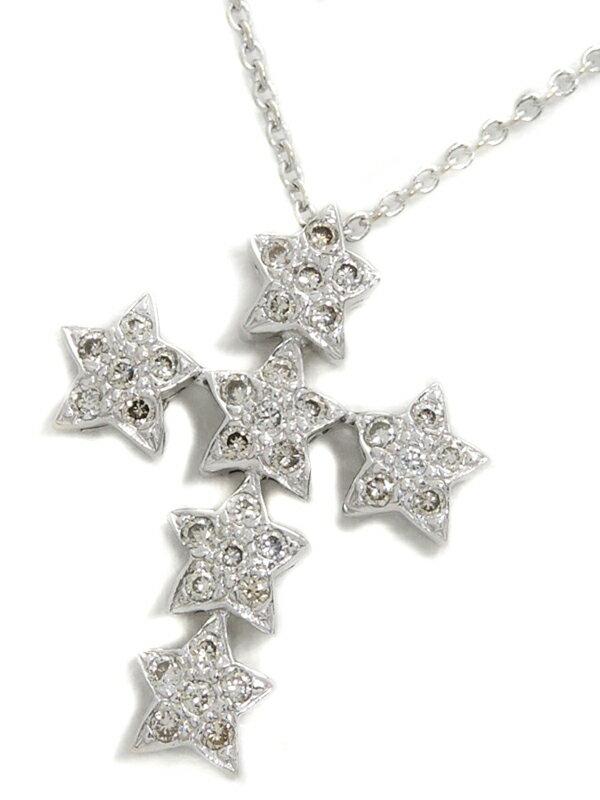 【星】【スター】セレクトジュエリー『K18WGネックレス ダイヤモンド0.18ct クロスモチーフ』1週間保証【中古】