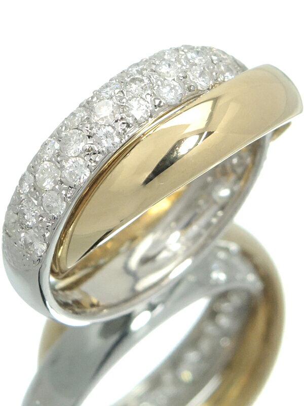 【パヴェダイヤ】セレクトジュエリー『K18YG/PT900リング ダイヤモンド1.00ct 2連』11号 1週間保証【中古】