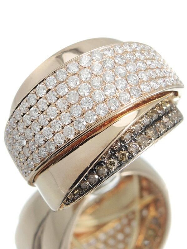 【パヴェダイヤ】セレクトジュエリー『K18PGリング ダイヤモンド1.90ct』14号 1週間保証【中古】
