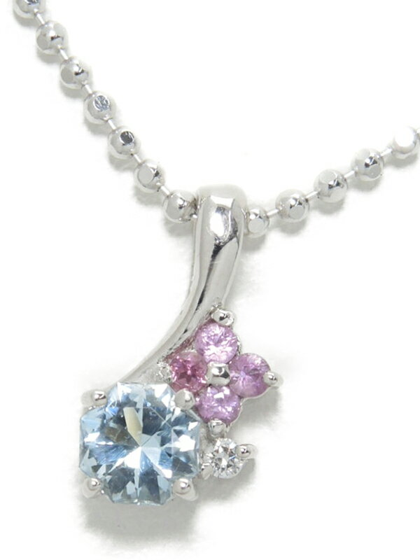 セレクトジュエリー『K18WGネックレス トパーズ サファイア ダイヤモンド』1週間保証【中古】