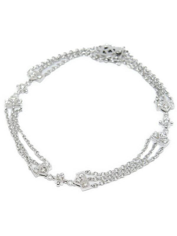 【3連チェーン】セレクトジュエリー『K18WGブレスレット ダイヤモンド0.280ct』1週間保証【中古】