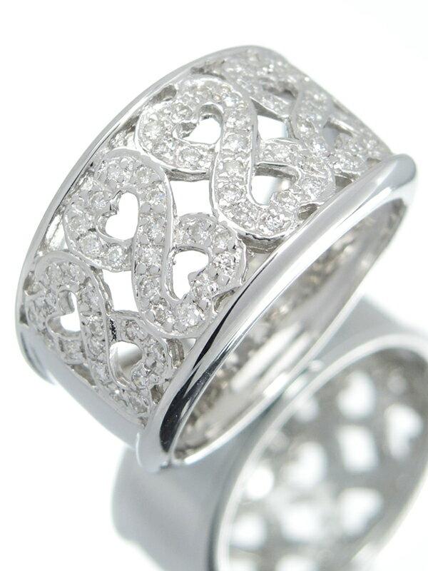【仕上済】セレクトジュエリー『K18WGリング ダイヤモンド0.35ct ダブルハートモチーフ』15号 1週間保証【中古】