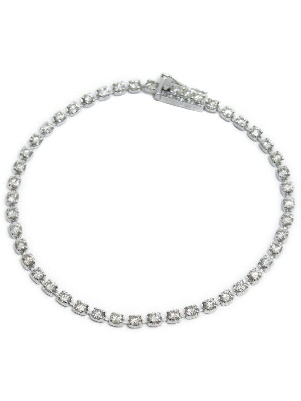 【仕上済】セレクトジュエリー『K18WGブレスレット ダイヤモンド3.00ct テニスブレス』1週間保証【中古】