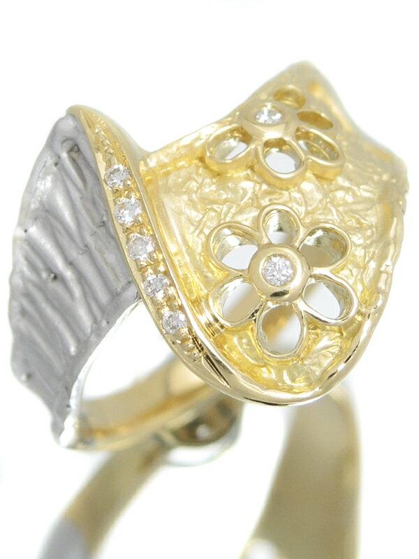 セレクトジュエリー『K18YG/K18WGリング ダイヤモンド0.04ct フラワーデザイン』15号 1週間保証【中古】