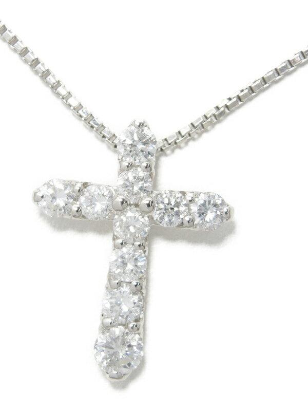セレクトジュエリー『PT900/PT850ネックレス ダイヤモンド1.02ct クロスモチーフ』1週間保証【中古】