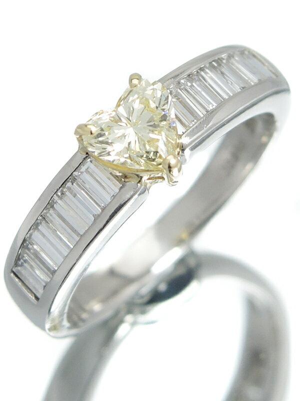 【ソーティング】セレクトジュエリー『PT900/K18YGリング ダイヤモンド0.563ct/LIGHT YELLOW/SI-2 0.714ct ハートモチーフ』14号 1週間保証【中古】