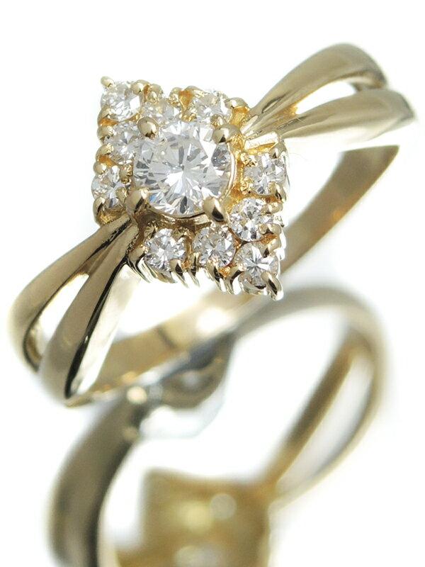 【仕上済】セレクトジュエリー『K18YGリング ダイヤモンド0.20ct 0.20ct』12号 1週間保証【中古】