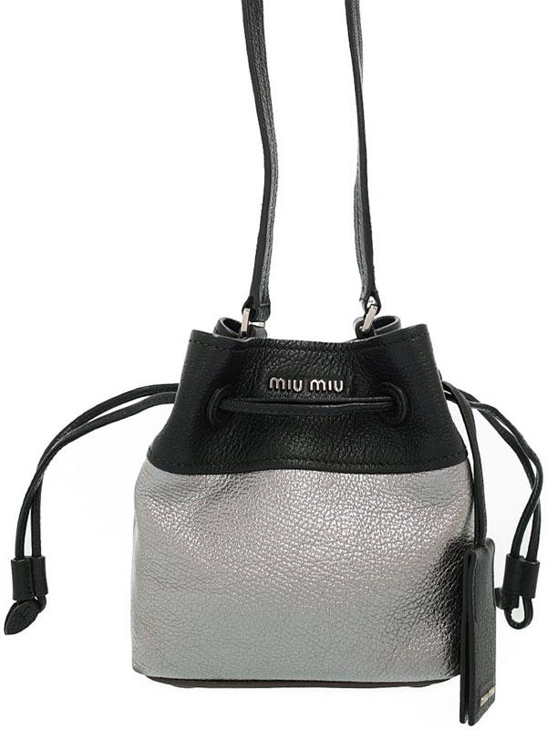 【miumiu】【バイカラー】ミュウミュウ『巾着型 ショルダーバッグ』レディース 1週間保証【中古】
