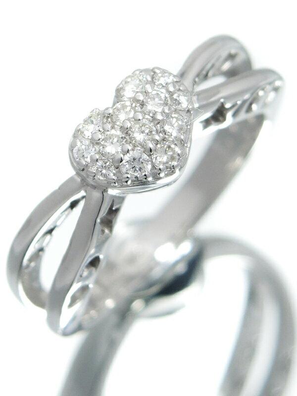 【仕上済】【パヴェダイヤ】セレクトジュエリー『K18WGリング ダイヤモンド0.21ct ハートモチーフ』11号 1週間保証【中古】