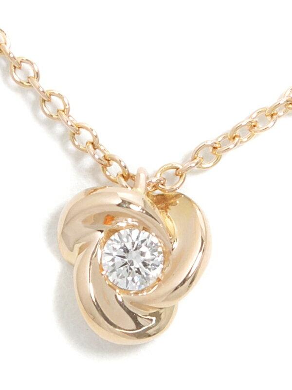 【Ponte Vecchio】【ローズ】【薔薇】ポンテヴェキオ『K18PGネックレス ダイヤモンド0.07ct バラモチーフ』1週間保証【中古】