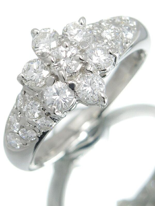 【仕上済】セレクトジュエリー『PT900リング ダイヤモンド1.00ct フラワーモチーフ』10.5号 1週間保証【中古】