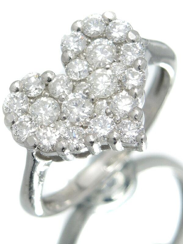 【パヴェダイヤ】セレクトジュエリー『PT900リング ダイヤモンド1.00ct ハートモチーフ』10.5号 1週間保証【中古】