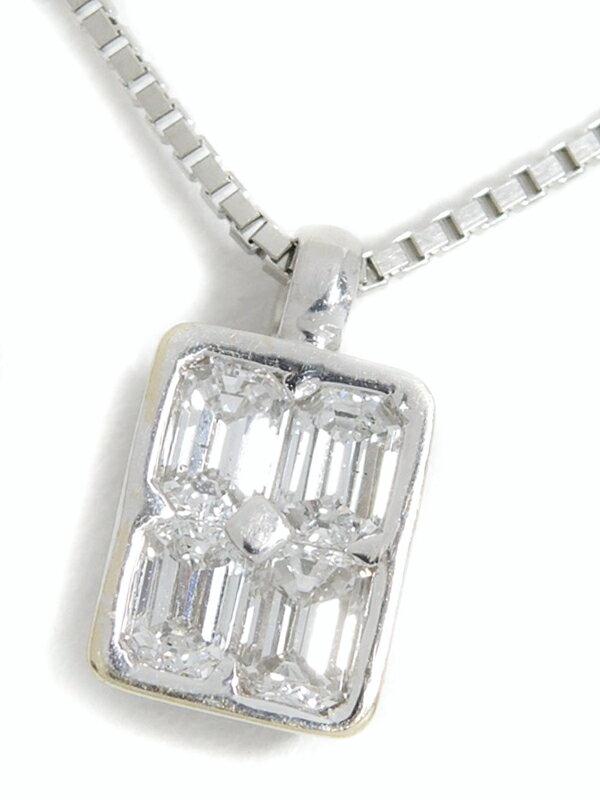 セレクトジュエリー『K18WG/PT850ネックレス ダイヤモンド0.78ct』1週間保証【中古】