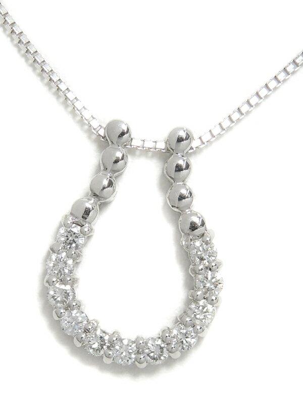 【馬蹄】セレクトジュエリー『K18WGネックレス ダイヤモンド0.51ct ホースシューモチーフ』1週間保証【中古】