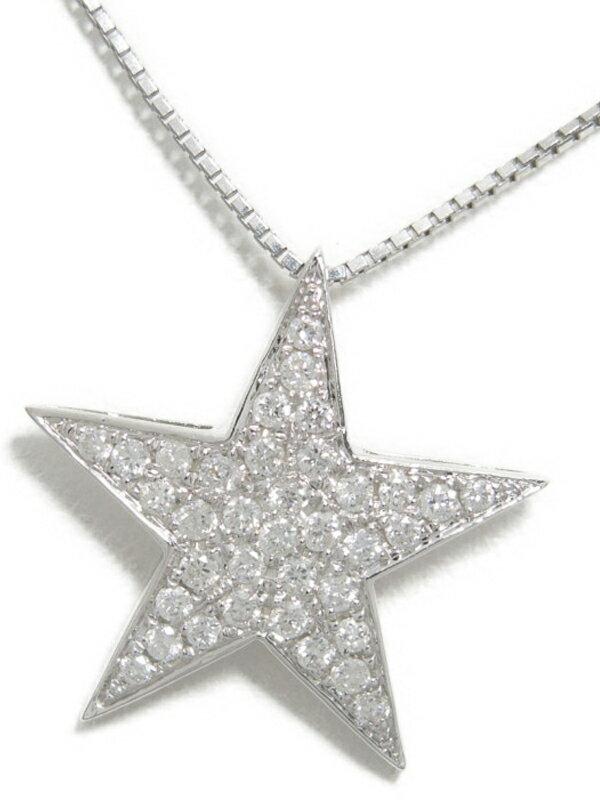 【星】【パヴェダイヤ】セレクトジュエリー『K18WGネックレス ダイヤモンド0.30ct スターモチーフ』1週間保証【中古】