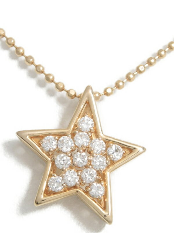 【星】セレクトジュエリー『K18PGネックレス ダイヤモンド0.19ct スターモチーフ』1週間保証【中古】