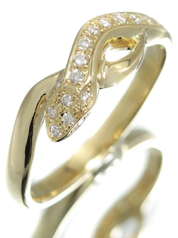 【蛇】【仕上済】セレクトジュエリー『K18YGリング ダイヤモンド0.11ct スネークモチーフ』14号 1週間保証【中古】