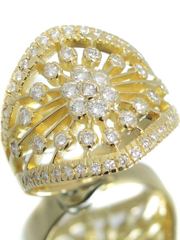 【仕上済】セレクトジュエリー『K18YGリング ダイヤモンド1.00ct フラワーモチーフ』16号 1週間保証【中古】