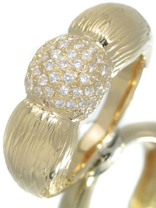 【パヴェダイヤ】セレクトジュエリー『K18YGリング ダイヤモンド0.74ct 』16号 1週間保証【中古】