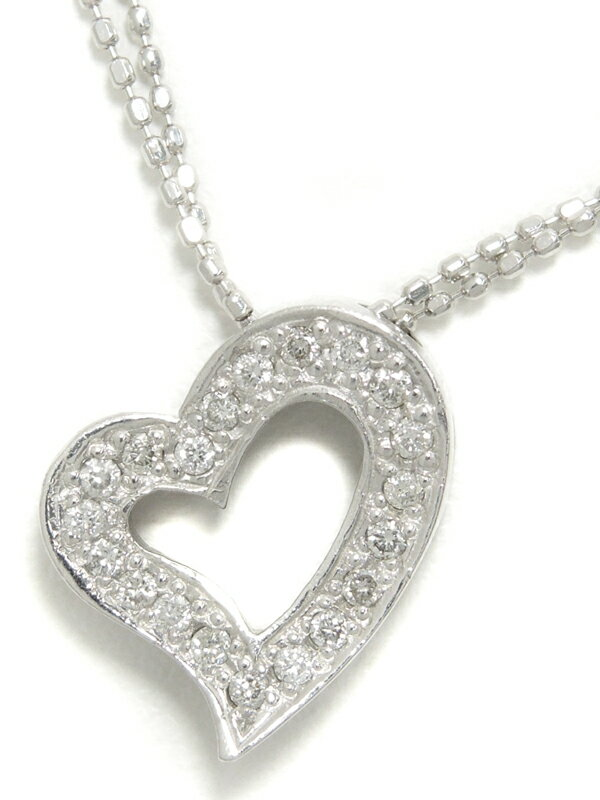 【2連チェーン】セレクトジュエリー『K18WGネックレス ダイヤモンド0.20ct ハートモチーフ』1週間保証【中古】